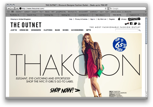 Screengrab of The Outnet site