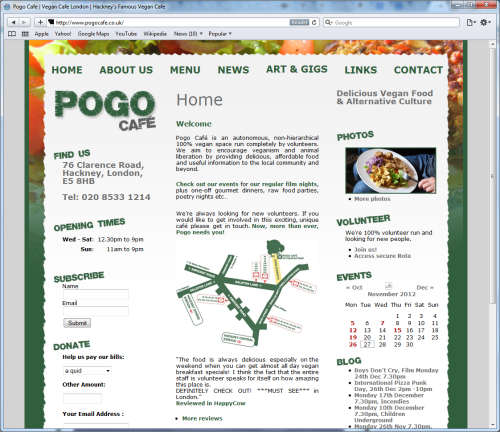 Screengrab of Pogo Cafe website