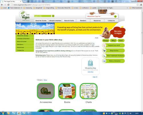 Screengrab of The Vegan Society's new web shop