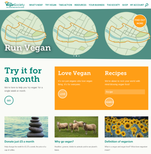 Screengrab of The Vegan Society's new website