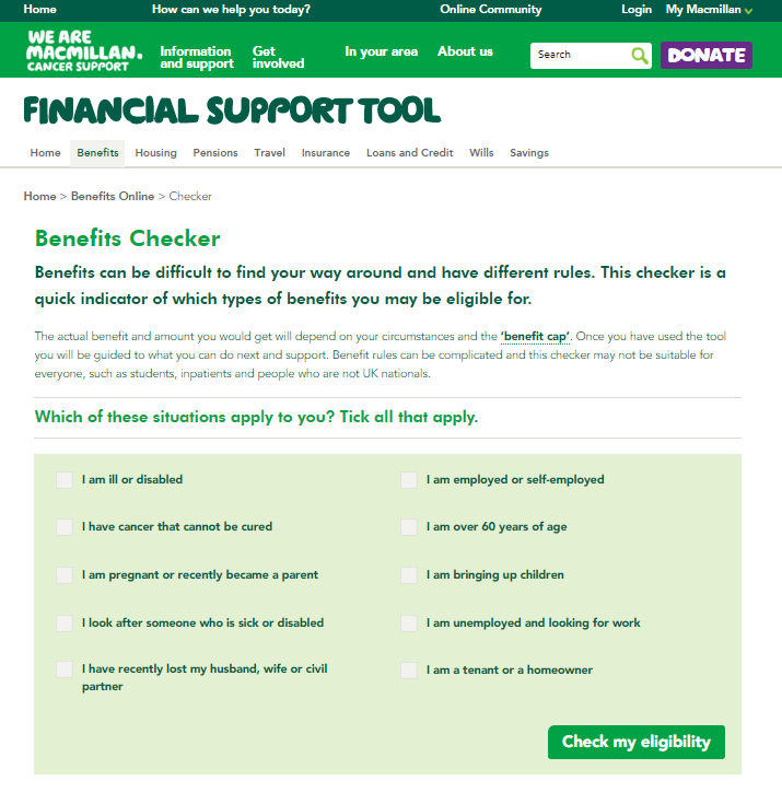 Screengrab of Benefits Online tool