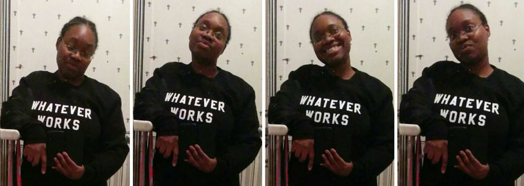 Kathleen wearing a black sweatshirt with the slogan 'WHATEVER WORKS' in white block lettering. Four shots of the same outfit with different expressions of playfulness: peering down, looking up over glasses, grinning and pouting