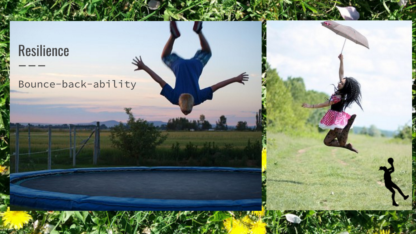 Photographs of people bouncing, one in the air upside down above a large trampoline and one jumping in the air holding an umbrella. The words 'Resilience' and 'Bounce-back-ability' appear over the top of the images.