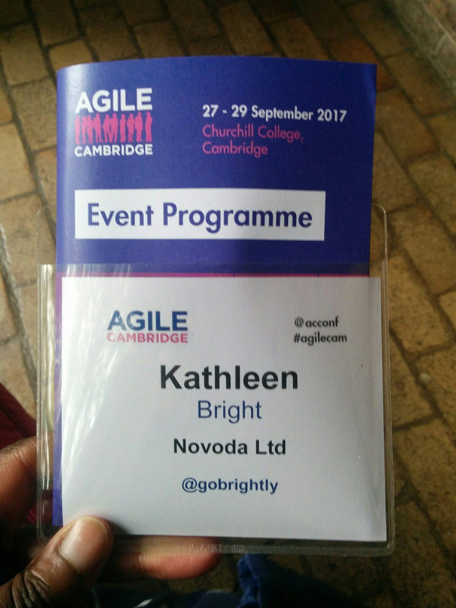 Kathleen Bright's name tag for Agile Cambridge 2017