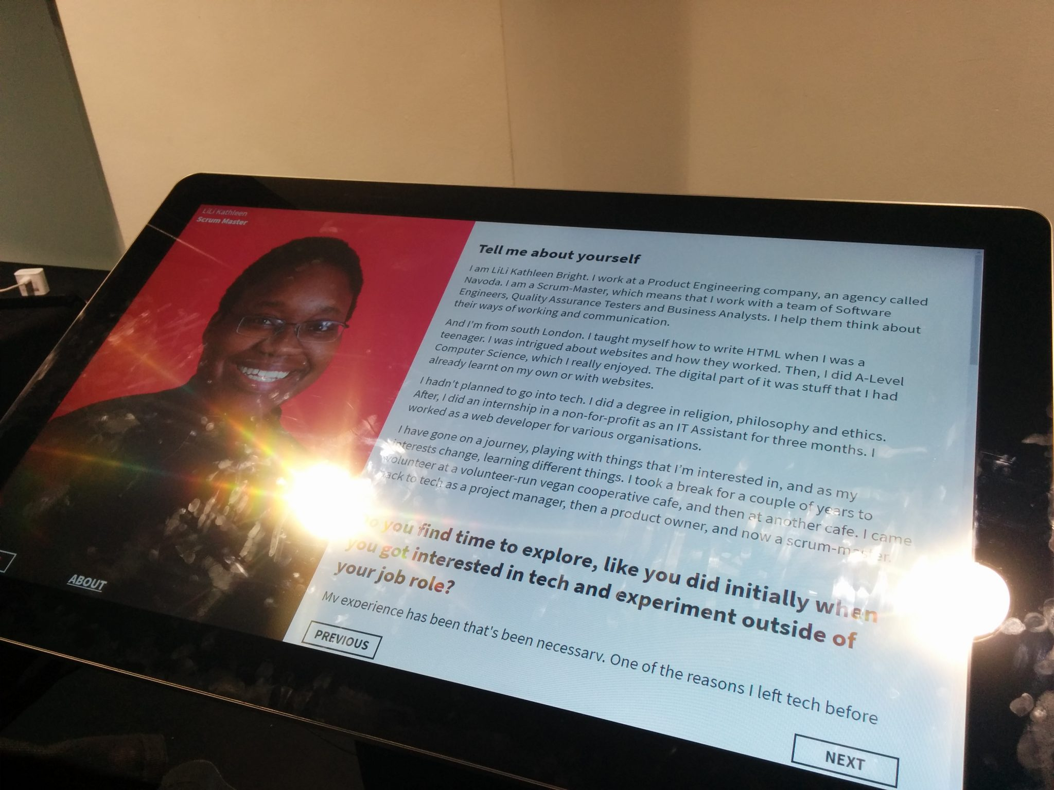 Photo of LiLi Kathleen on a screen as part of the Black Techies project exhibition that has inclusion at its heart