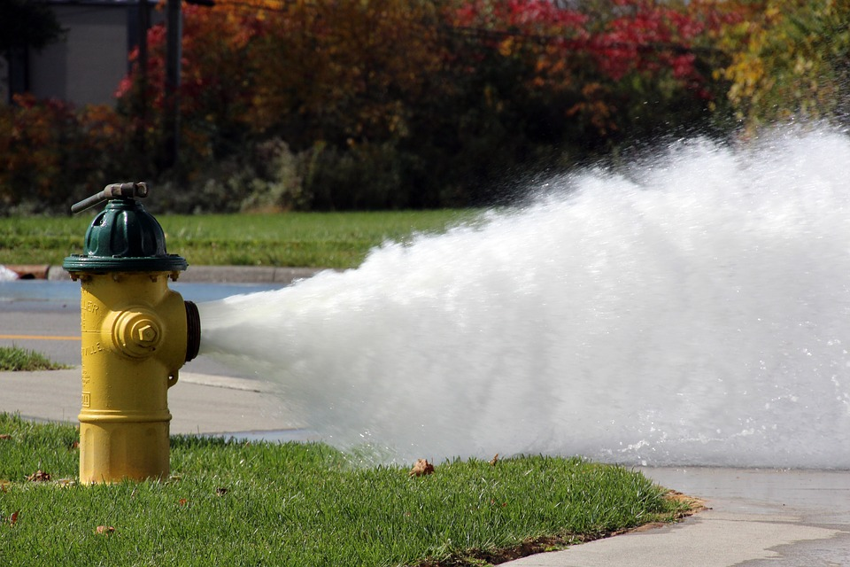 Water pouring from a fire hydrant