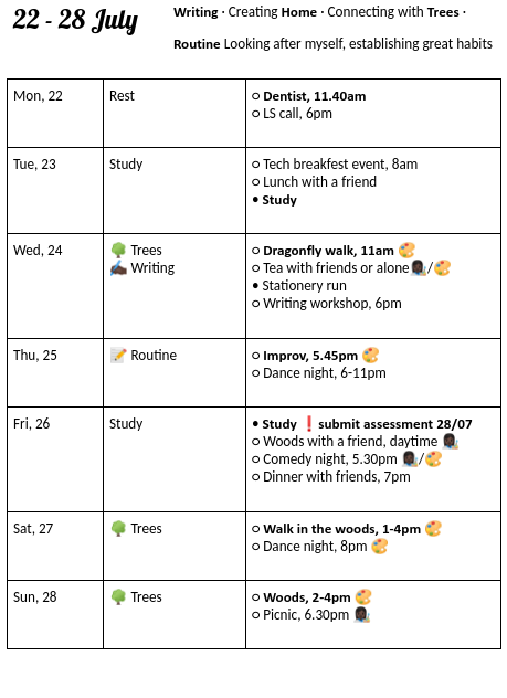 write down & highlight what's the priority for each day