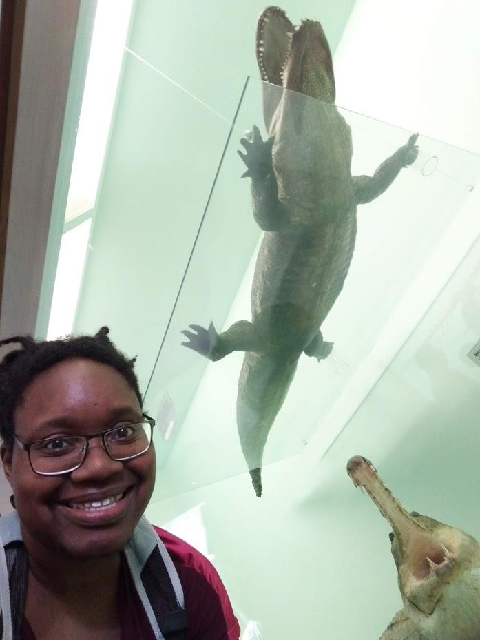 LiLi loves crocodiles (next to a sculpture)