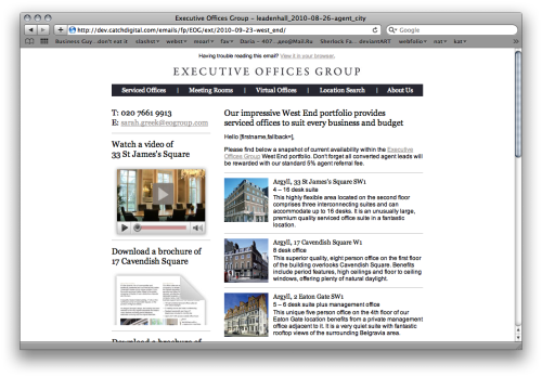 Screengrab of Executive Offices Group email newsletter