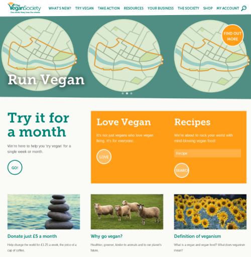 Screengrab of The Vegan Society's new website
