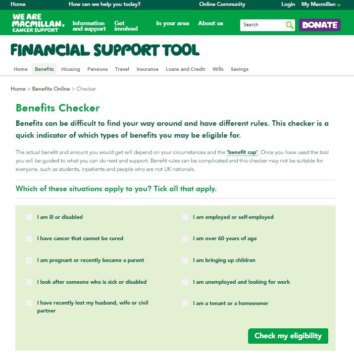 Screengrab of Benefits Online tool