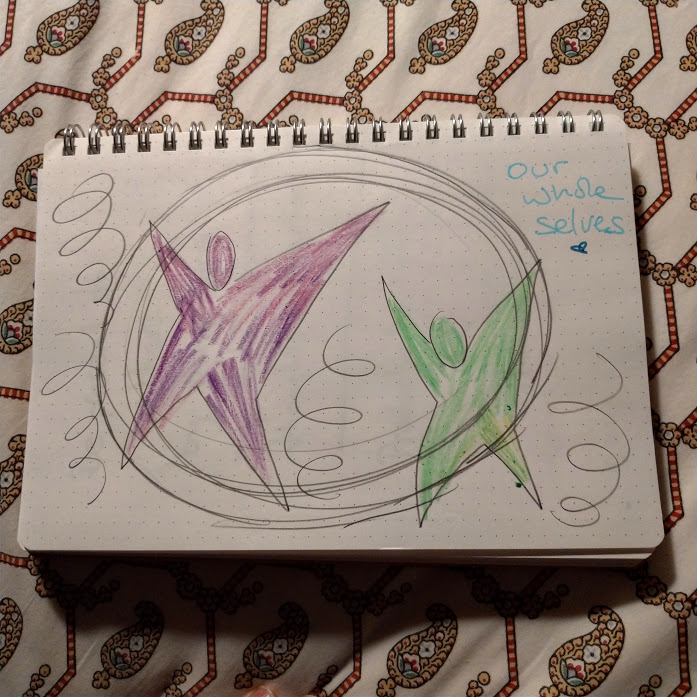 Drawing of one purple star person and one green star person, they're mostly within a large circle, which is surrounded by spirals. Top right hand corner reads: 'our whole selves'
