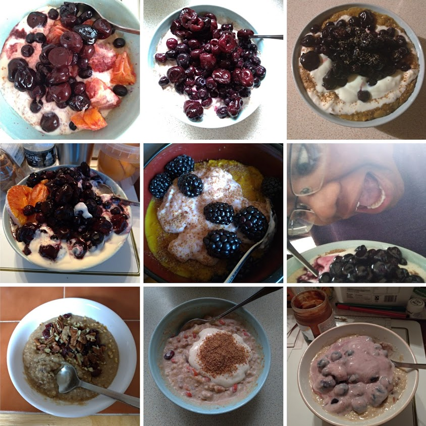9 photos of bowls of porridge, showing an array of variety and possibility. Most feature blueberries and yogurt. Some include blood oranges, cherries, blackberries, nuts and linseeds (flax). Porridge is an off-white colour in most photos, but in one bowl it's bright yellow. One photo includes LiLi Kathleen looking like they're about to dive mouth-first into a bowl, they have their mouth open and their eyes fixed on the porridge.