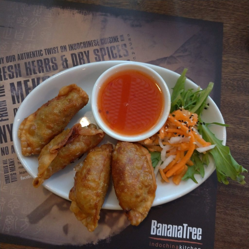 fried gyoza with sauce and picked vegetables