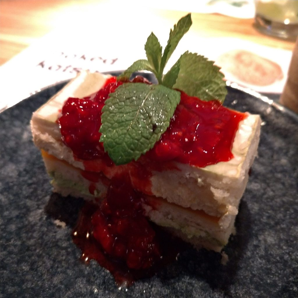 sponge cake layered with cream