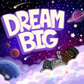 LiLi floating on clouds in space and captioned DREAM BIG