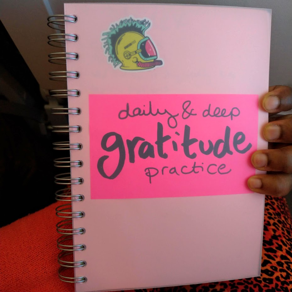 """daily & deep gratitude practice"" in large letters on pink book cover"