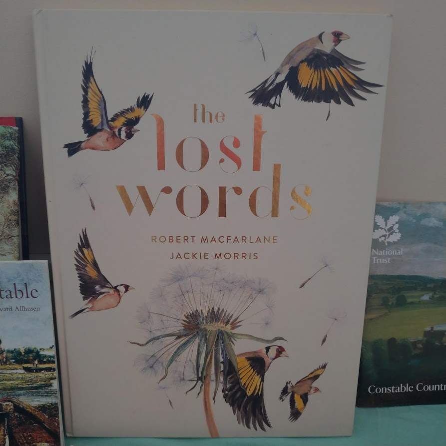 beautiful book called the lost words, by robert macfarlane and jackie morris. birds in flights and a dandelion seed head on the cover.