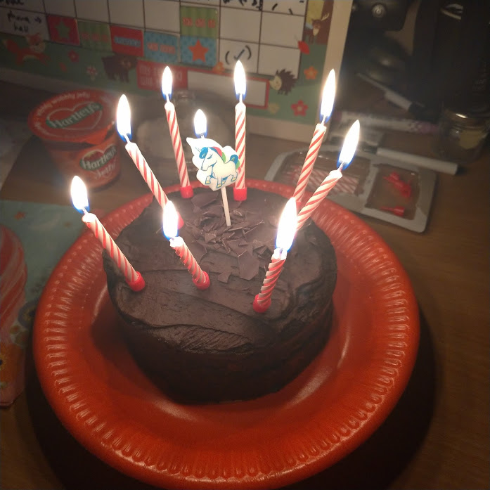 chocolate cake with birthday candles lit