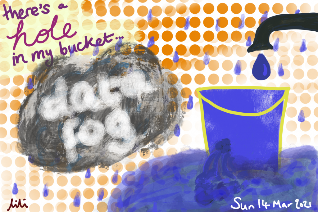 It's raining, and a tap is dripping water into a bucket that is both full and leaking from a hole. It is sat in a puddle of water. There's a grey cloud labelled 'data fog' and the words 'there's a hole in my bucket'. Drawing.