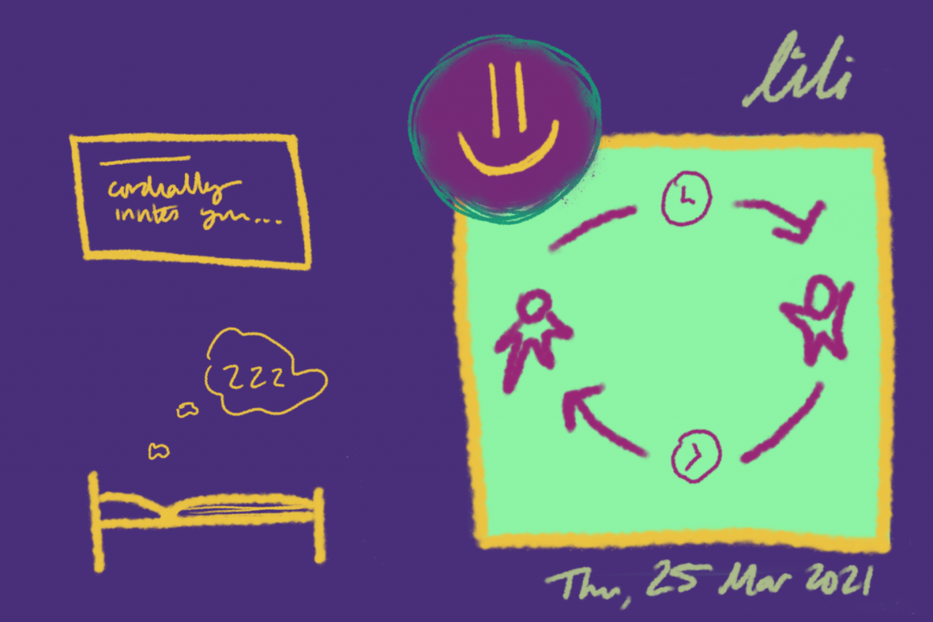 Asynchronous cycle of collaboration between two individuals. Resting. Invitation. Thu, 25 Mar 2021