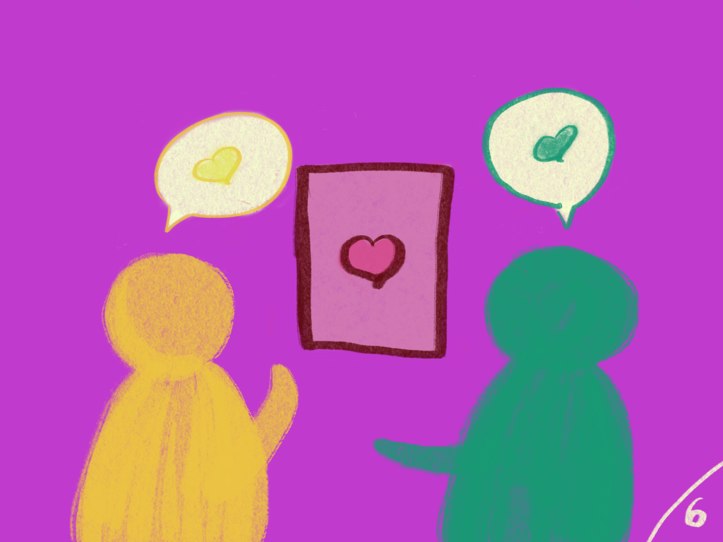 2 figures, both expressing love, one is giving a love letter to the other