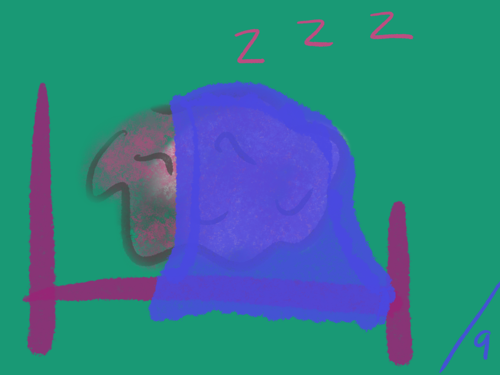 A brain at rest, all cosy with a purple-blue blanket in a purple bed.