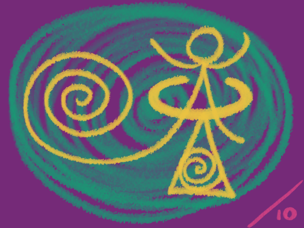 Huge green concentric circles, with a yellow spiral that turns into an encircled figure about a triangle with a spiral in it