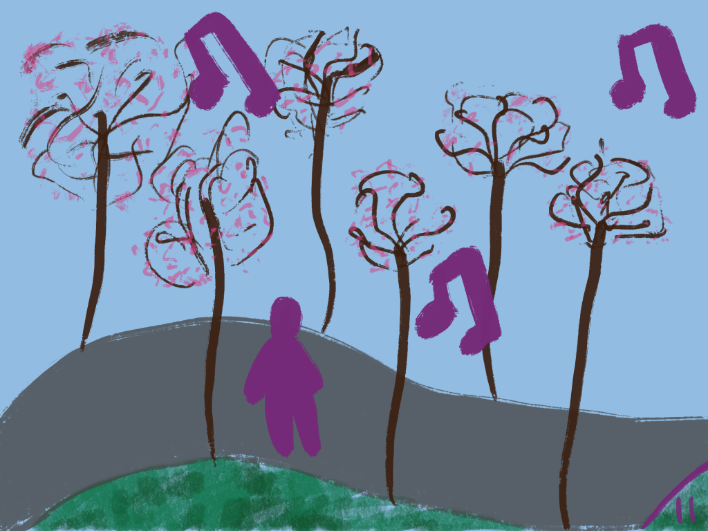 A purple figures walks along a street lined with cherry trees in bloom, they are singing.
