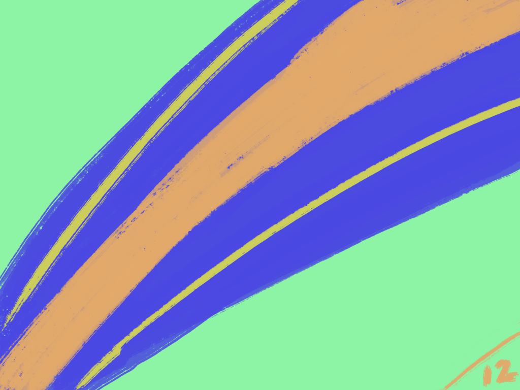 Bright green with a path of purple and orange splayed across it.