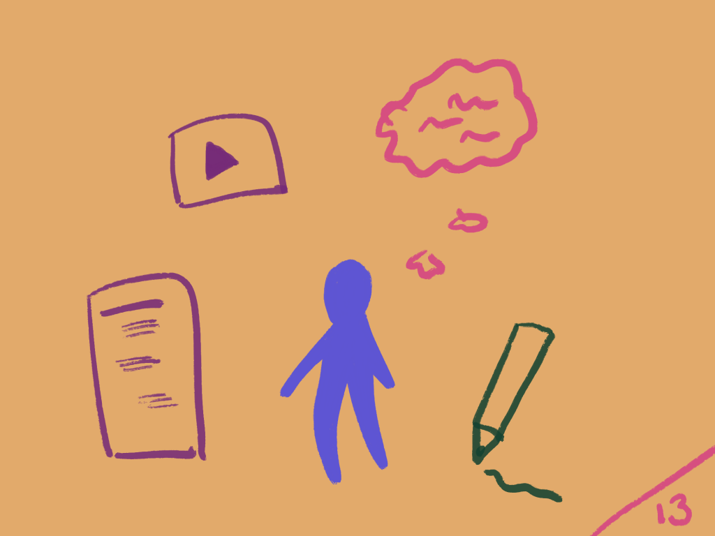 Purple figure thinking and writing, with docs and videos around them