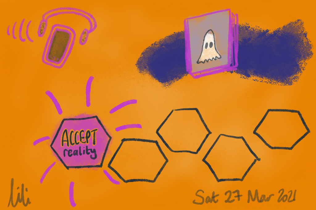 5 hexagons, the first is purple and says 'ACCEPT reality', the others are blank. A river of water with a book, on its cover is a ghost. A phone and headset with sound. Sat, 27 Mar 2021