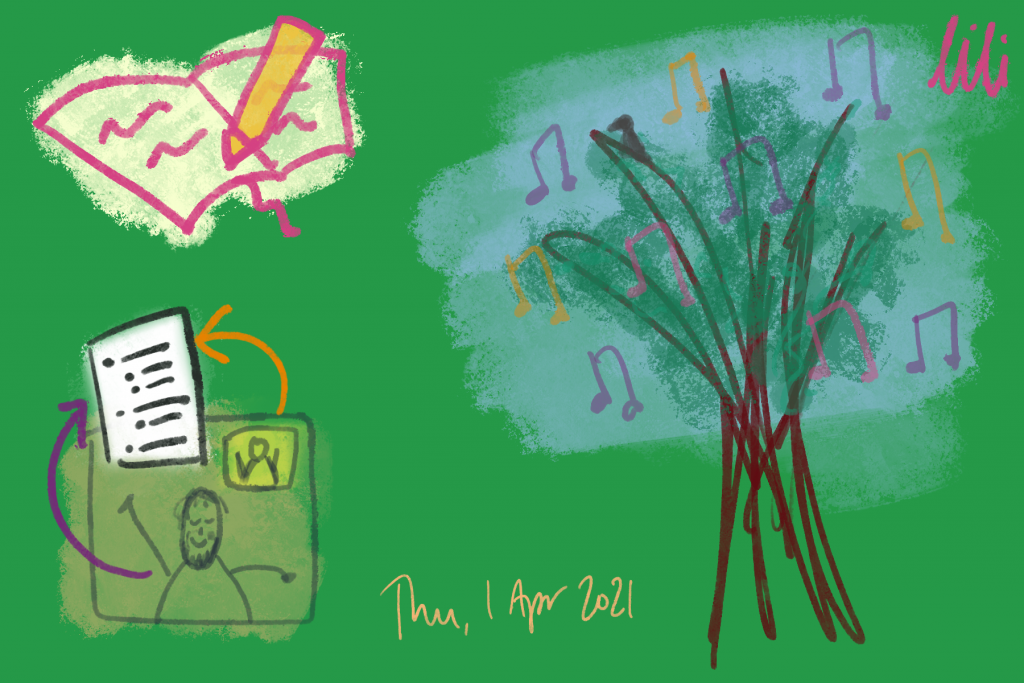 A tree surrounded by, or emanating, music. Writing. 2 figures on a video call co-writing a document. Thu. 1 April 2021.