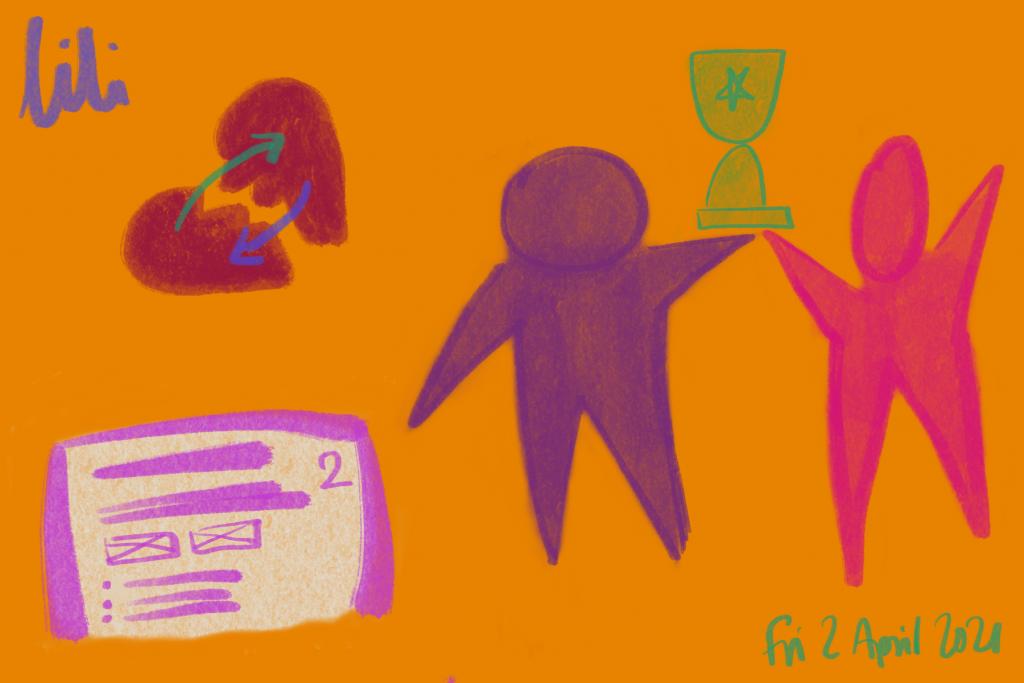2 figures hold up a trophy. A broken heart mends. A document labelled '2' (it's a blogpost). Fri, 2 April 2021.