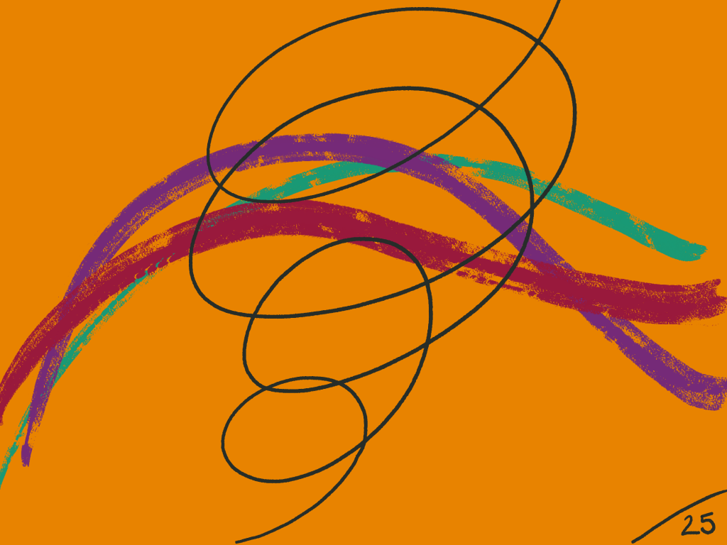 different coloured lines flow across the canvas and there's a spiral getting bigger as it rises