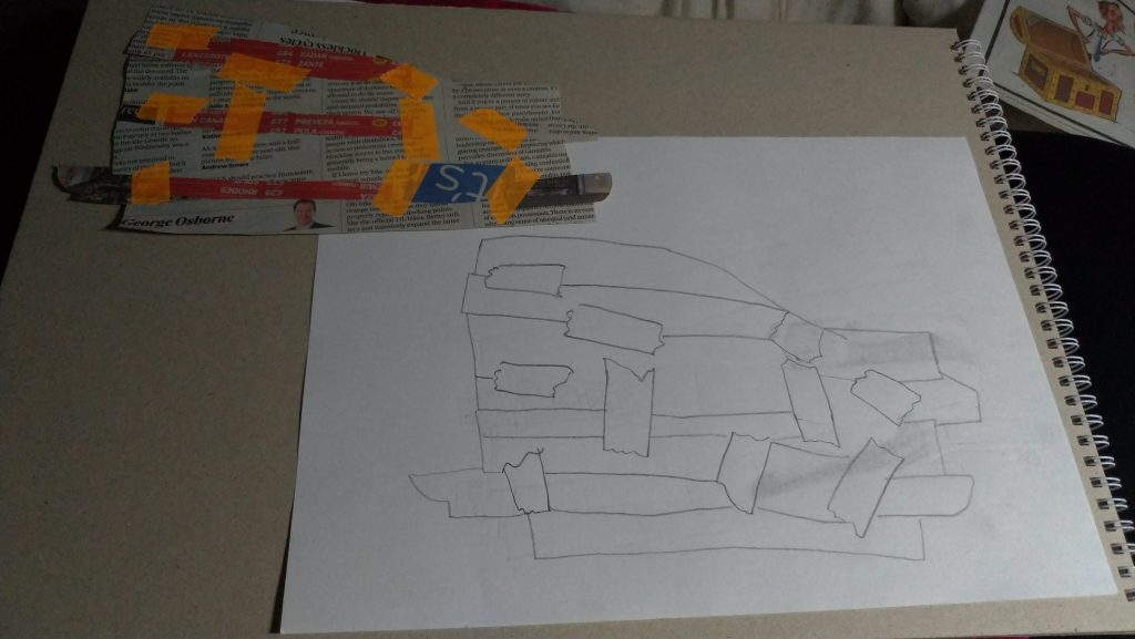 bits of newspaper stuck together with bright orange tape, outline drawing of the bits and the tape