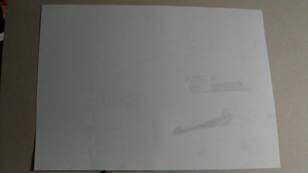 faint markings of erased pencil leaving behind the ghost of images