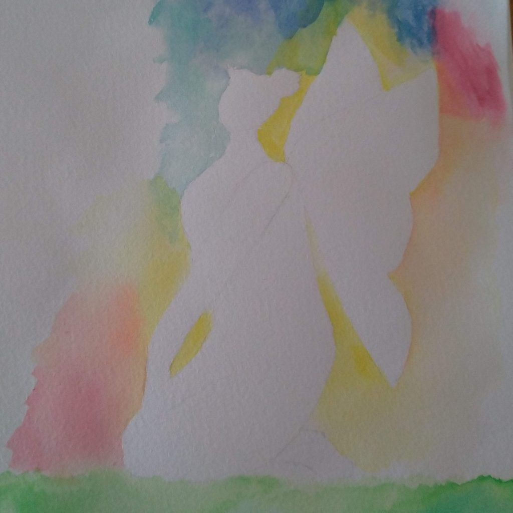 Fairy silhouette, pale, surrounded by multiple colours blending into each other, watercolours