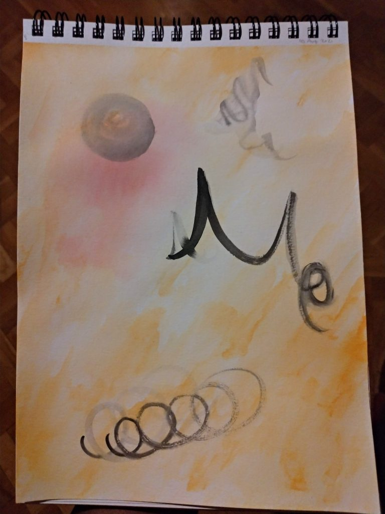 orange washes over a page, with a pinky-reddish area, a dark sphere, and some black inky scribbles, one of which might read Me or Mo, spirals appear repeated