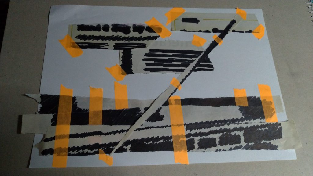 bits of newspaper torn up, writing and images blacked out, pieces stuck with bright orange tape to a sheet of white paper, haphazardly