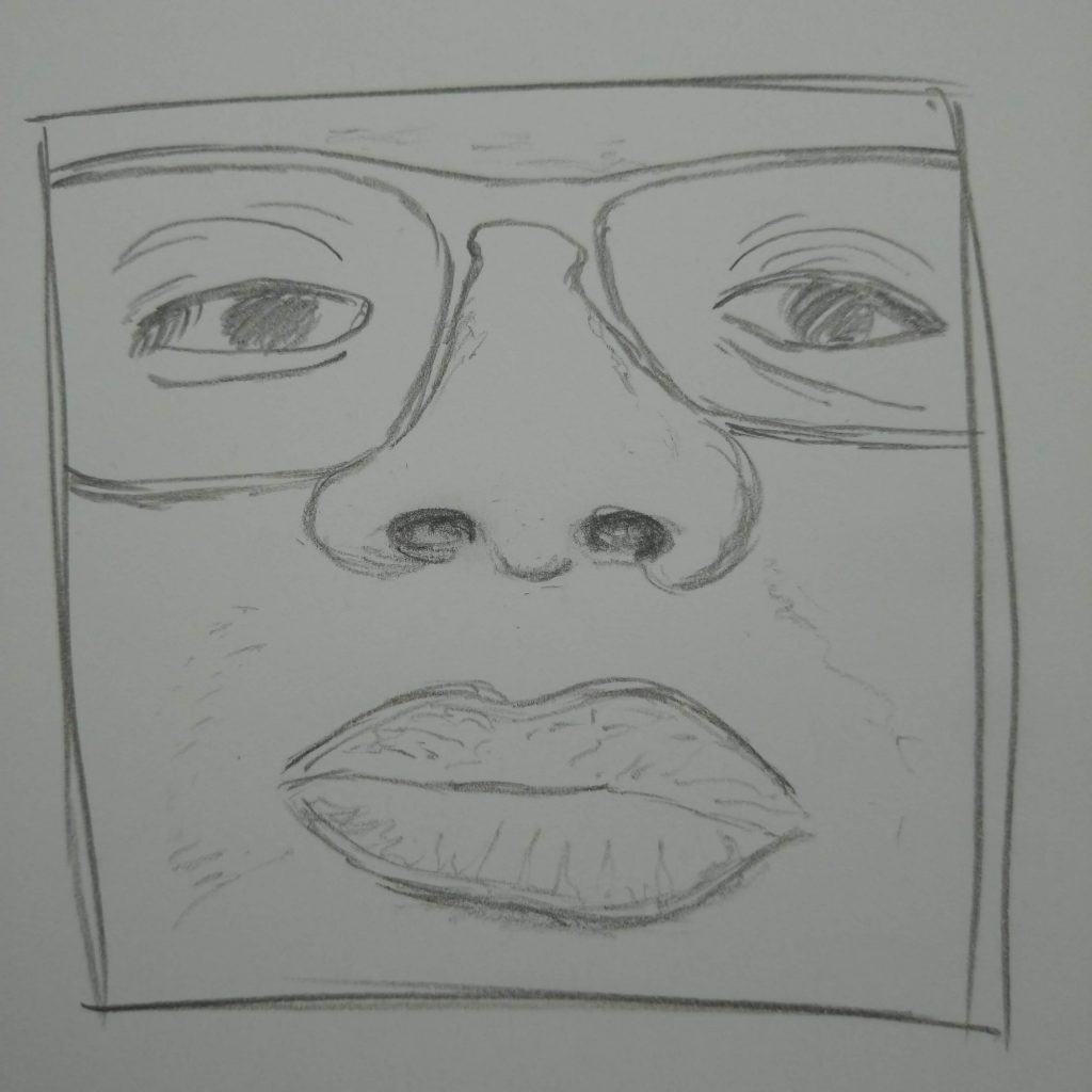 close-up of a face line drawing framed in a square