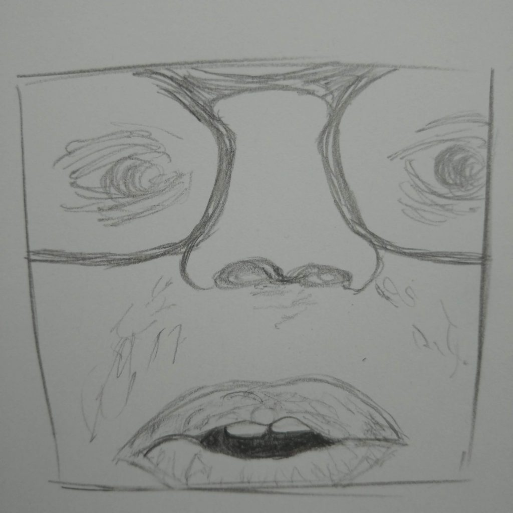 close-up of a face, mouth open, line drawing framed in a square