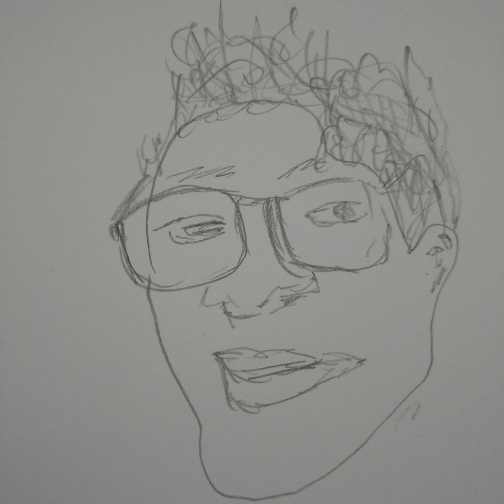 smirking face line drawing