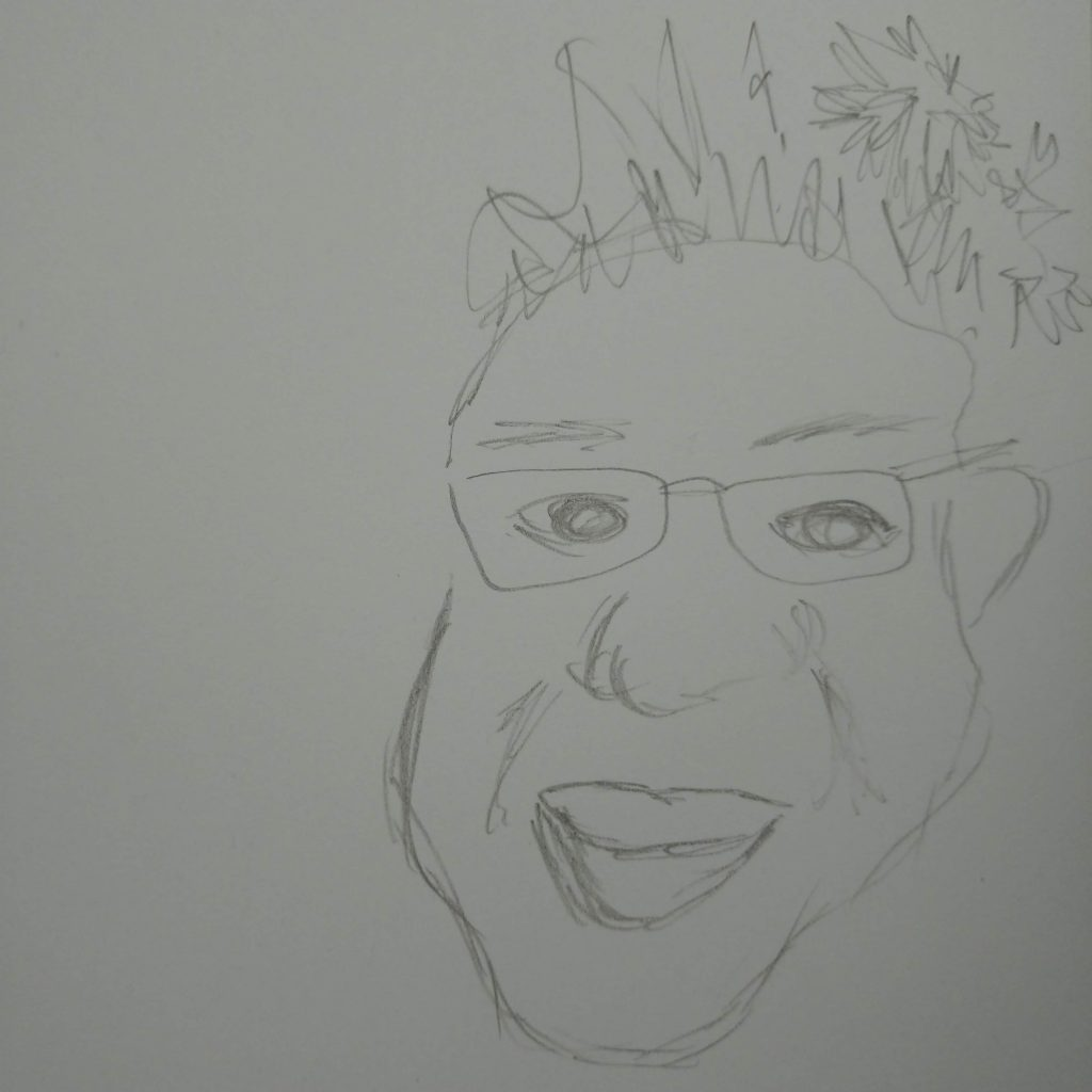 distorted face line drawing