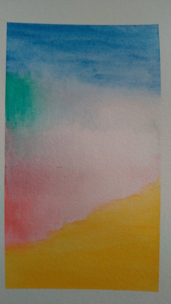 blues, greens, pinks and yellows bleed and blend on a page in a rectangle
